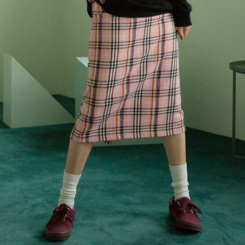 [UNLIKELOOK] CHECK BANDING SKIRT (PINK)