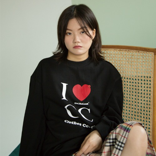[UNLIKELOOK] C.C SWEAT SHIRT (BLACK)