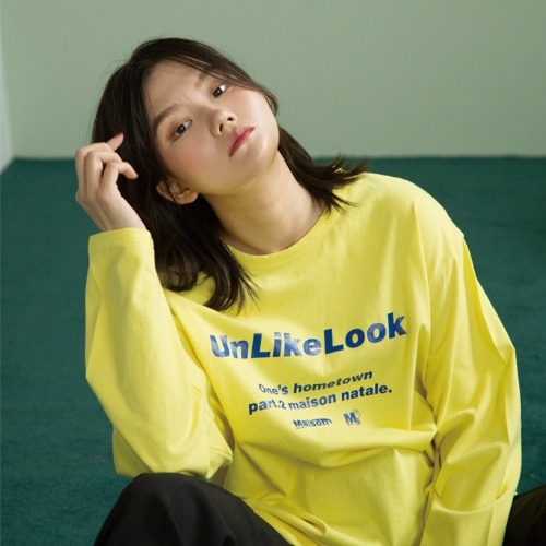 [UNLIKELOOK] MAISON LOGO LONG SLEEVE TEE.2 (YELLOW)