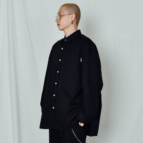 [BASEMOMENT] Solid Over Long Shirt Black