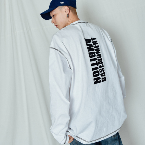 [BASEMOMENT] Ambition Stitch Long Sleeve White