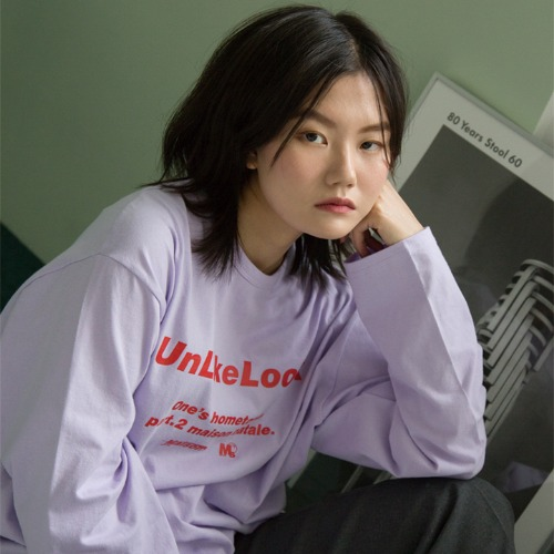[UNLIKELOOK] MAISON LOGO LONG SLEEVE TEE.2 (PURPLE)