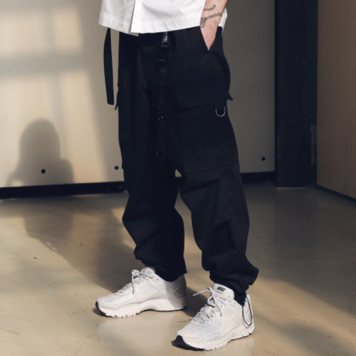 [MASSNOUN] D-RING EASY CARGO STRING PANTS MSNCP001-BK