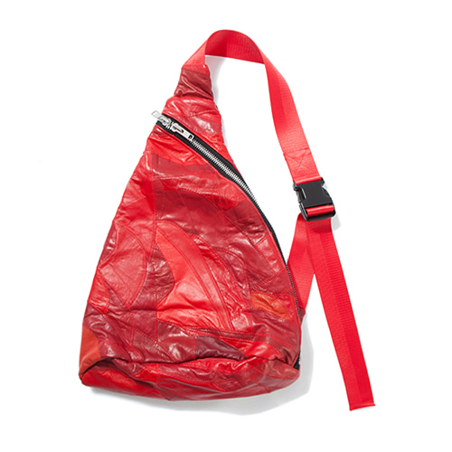 [KING]Leather Patchwork Sling Bag -Red