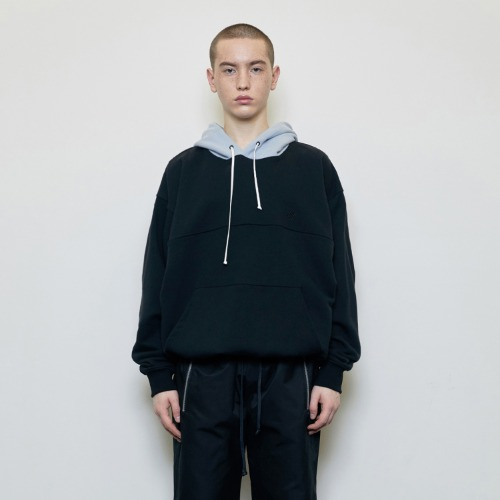 [D.PRIQUE] Oversized Contrast Hoodie Black/Blue