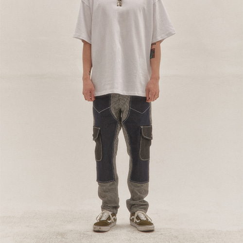 [Innovant] unbalance cargo denim pants -v2- (black)