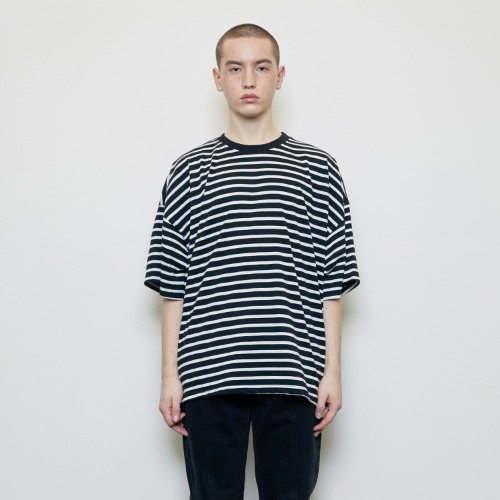 [D.PRIQUE] Oversized Striped T-shirt Black