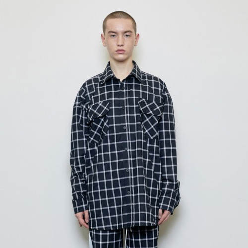 [D.PRIQUE] Oversized Check Shirt Black