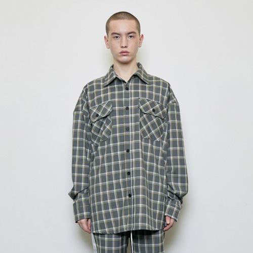 [D.PRIQUE] Oversized Check Shirt Grey