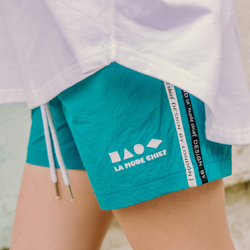 [LAMODECHIEF] LAMC SHAPE SHORT PANTS (BLUEGREEN)