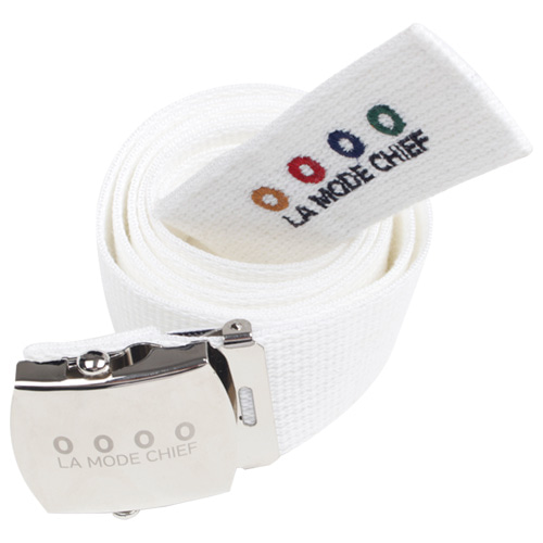 [LAMODECHIEF] LAMC SIGNATURE LOGO BELT (WHITE)