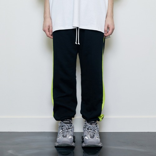 [D.PRIQUE] Track Jogger Pants Black/Neon
