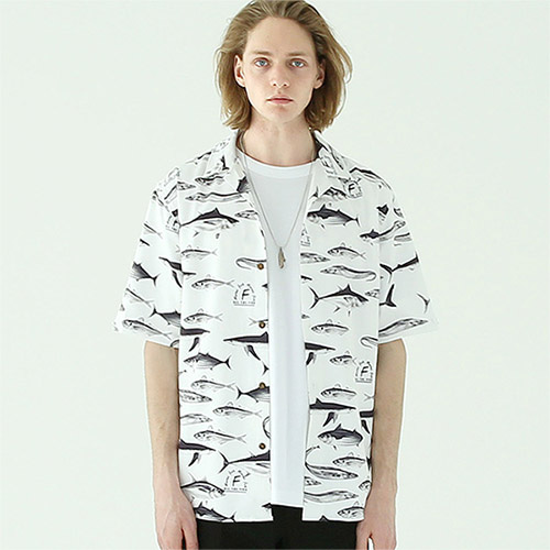 [TENBLADE] Marine fish open collar shirt tai532os-white