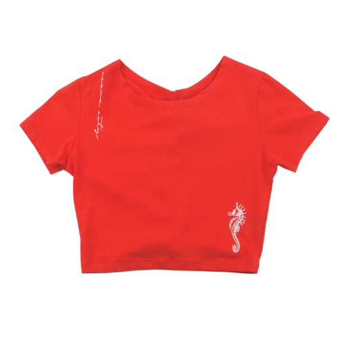 [UGLYSHADOW]  SEA HORSE LACE HALF TOP(RED)