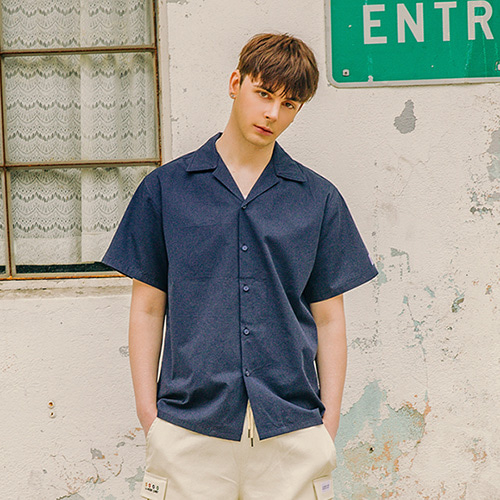 [LAMODECHIEF] LAMC LEATHER PATCH SHORT SHIRT (NAVY)