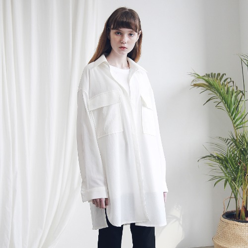 [ARDOROBE] TWO POCKET OVERFIT LONG SHIRTS AST191003-WT