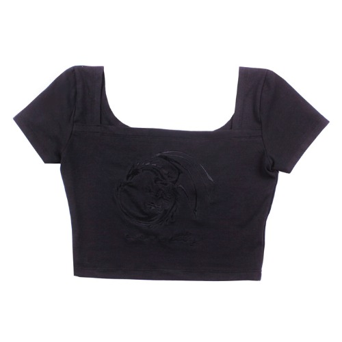 [UGLYSHAODW] DRAGON SQUARE CROP TOP(BLACK)