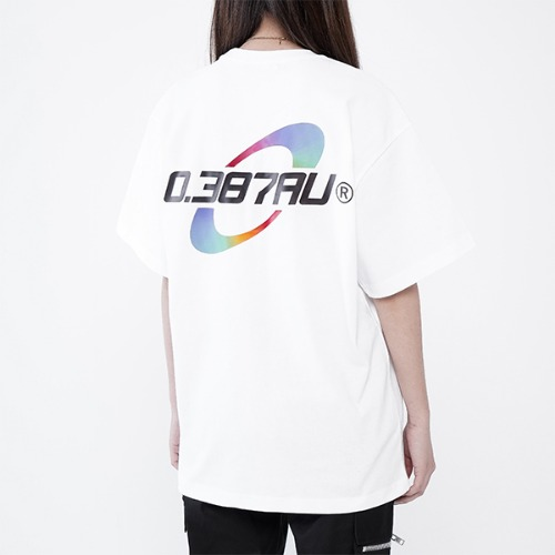[0.387AU] Rainbow Logo White T-shirt