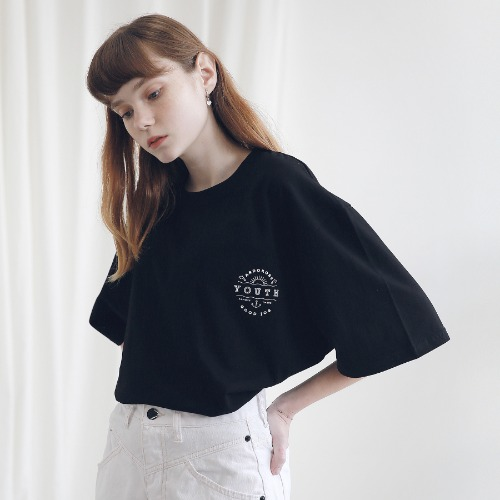 [ARDOROBE] UNISEX YOUTH CIRCLE TEE ATS191001-BK