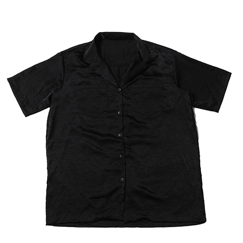 [WANTON] WASHER SILK SHIRTS BLACK