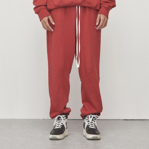 [D.PRIQUE]Logo Jogger Pants Red