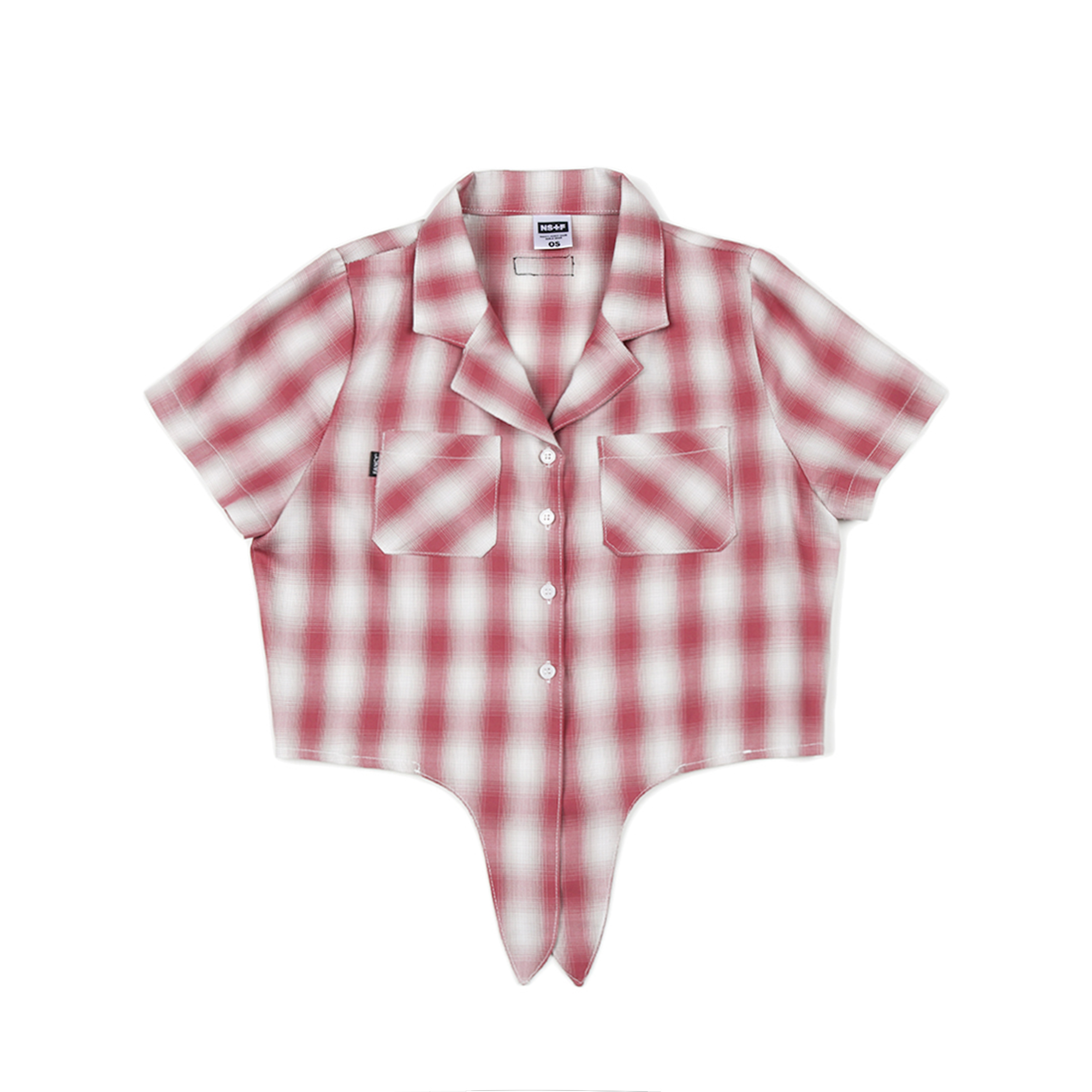 [NF] FANCY CHECK CROP SHIRTS RED (NF19S075H)