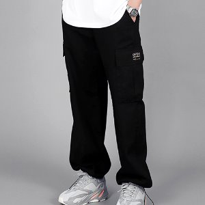 [OHVERDOSE]PATCH LOGO BANDING CARGO PANTS BLACK