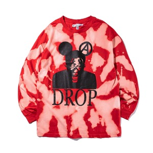 [MBA EK(이케이) 착용 [KING] Bleach DROP Long Sleeve -Red