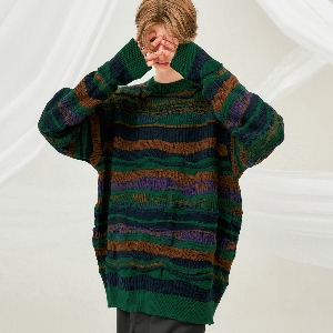 [FLARE] 4mix over knit Sweater (FU-147_Green Mix)