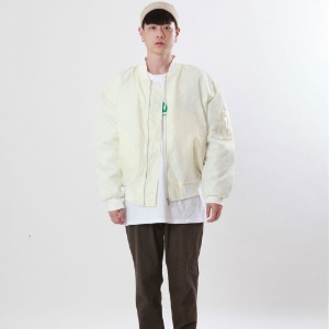 [Double adrenaline syndrome]embroidered ma-1 jacket(ivory)