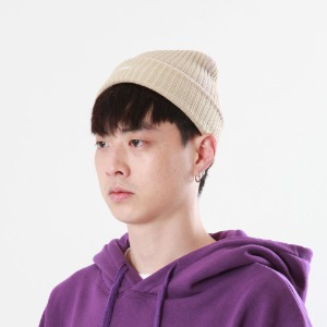 [Double adrenaline syndrome]side-washing short beanie(beige)