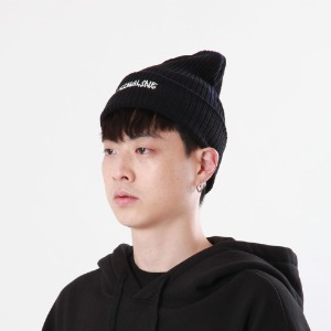 [Double adrenaline syndrome]side-washing long beanie(black)