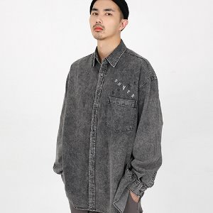 [OHVERDOSE]OVERSIZED SIGNATURE LOGO DENIM SHIRTS BLACK