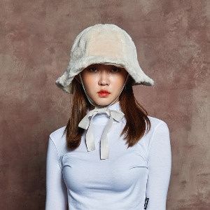 [BLUE PIE] FUR BUCKET HAT - IVORY