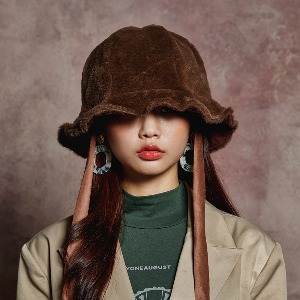 [BLUE PIE] FUR BUCKET HAT - BROWN