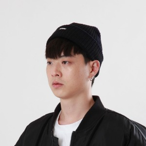 [Double adrenaline syndrome]side-washing short beanie(black)