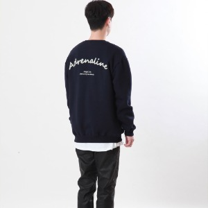 [Double adrenaline syndrome]chain back-point sweatshirt(navy)