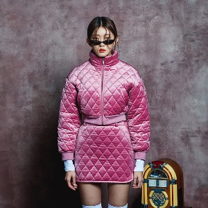 [BLUE PIE] Quilting Short Jacket - PINK