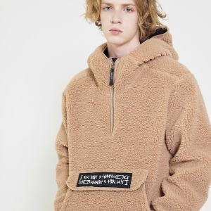 Fleece pullover Anorak Hoodie-Jacket - Brown