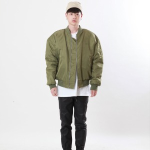 [Double adrenaline syndrome]embroidered ma-1 jacket(khaki)