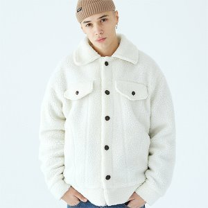 [TENBLADE] Trucker fleece jacket-ivory