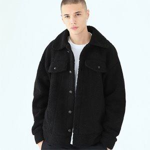 [TENBLADE] Trucker fleece jacket-black