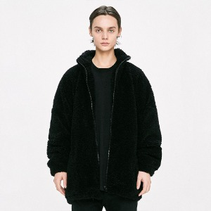 [D.PRIQUE] Oversized Shearling Jacket - Black