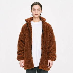 [D.PRIQUE] Oversized Shearling Jacket - Brown