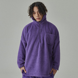 [WANTON]WANTON LONG NECK ZIPUP WOOL PURPLE