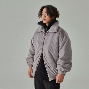 [WANTON]FAKE ANGORA FUR JAKET GREY
