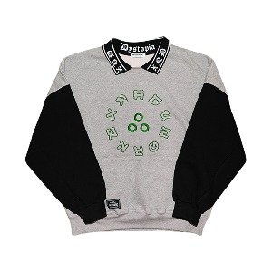 [XNADUWORKS] Point collar sweatshirts - Grey/Black
