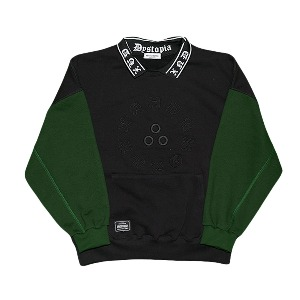 [XNADUWORKS] Point collar sweatshirts - Black/Green