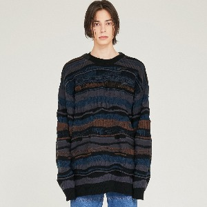 [FLARE] 4mix over knit Sweater (FU-147_Turkish-Blue Mix)