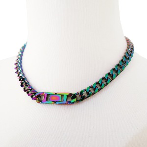 [TWENTYONEAUGUST]MONOGRAM LOCKER CHOKER  - MULTI